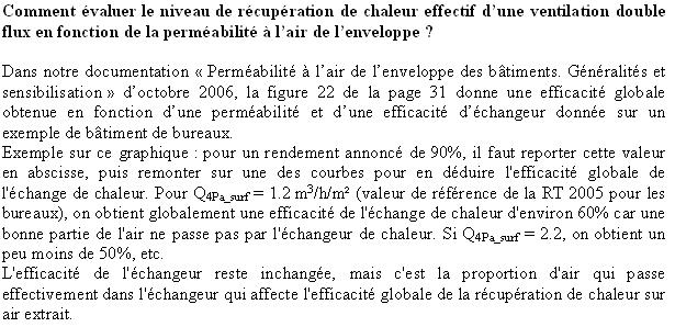 Comment évaluer le niveau de récupération de chaleur effectif d'une ventilation double flux en fonction de la perméabilité à l'air de l'enveloppe ?