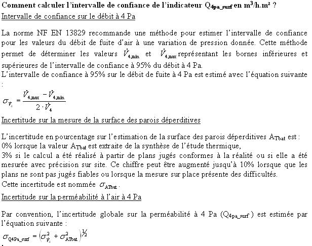 Comment calculer l'intervalle de confiance de l'indicateur Q4pa_surf en m3/h.m² ?