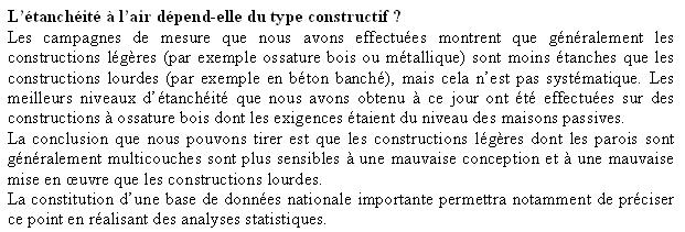 L'étanchéité à l'air dépend-elle du type constructif ?